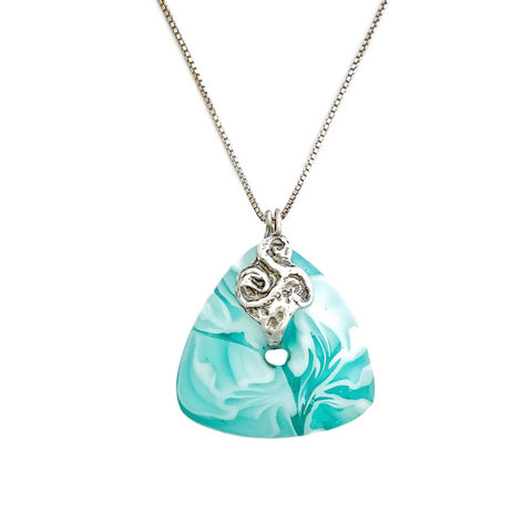 Aqua shattered glass murrini pendant