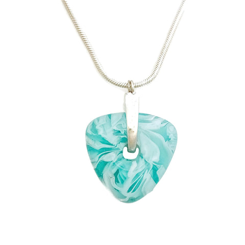 aqua glass pendant with sterling silver chain