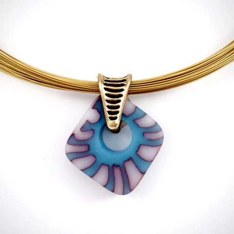 murrini fused glass diamond pendant