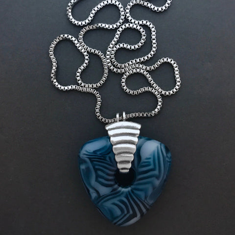 Recycled Trillion Murrini Pendant | Stainless Steel Chain