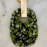 recycled glass pine green pendant necklace