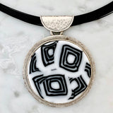 black and white fused glass pendant