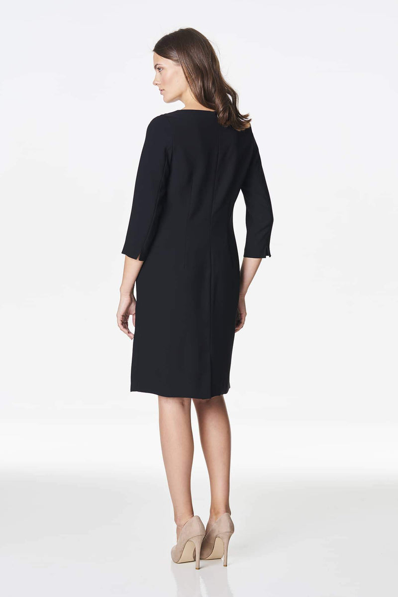 Voglia functional classic black dress with quater lenght sleeves