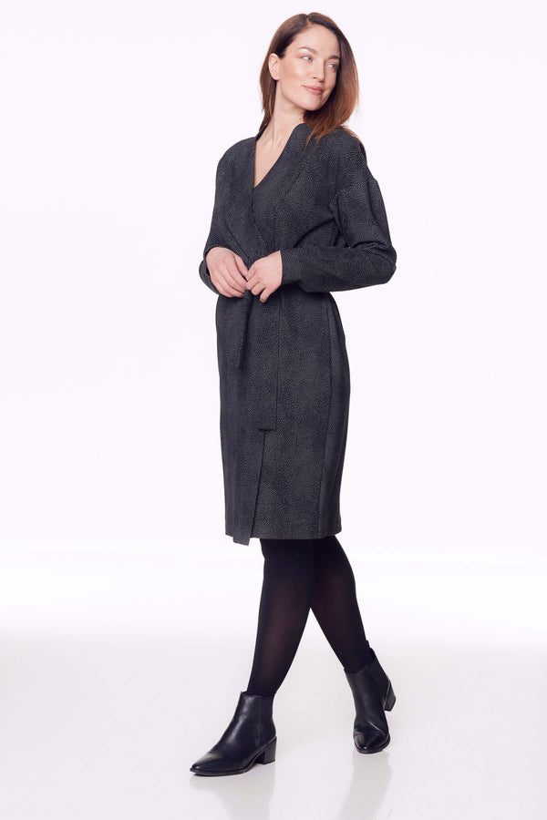 Voglia dark gray long sleeve wrap dress