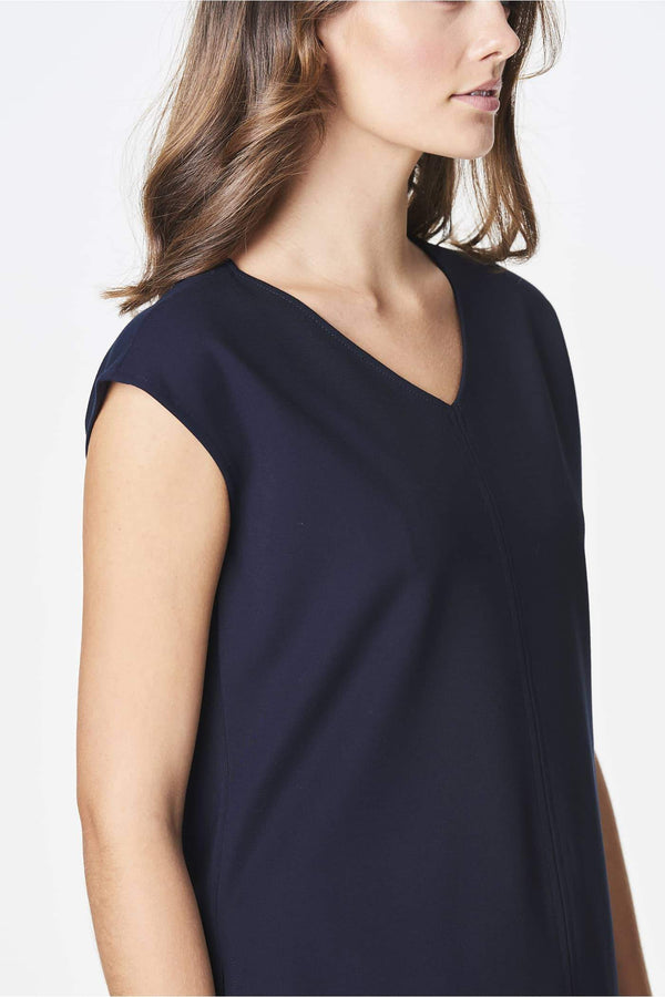 Voglia dark blue top with cap sleeves