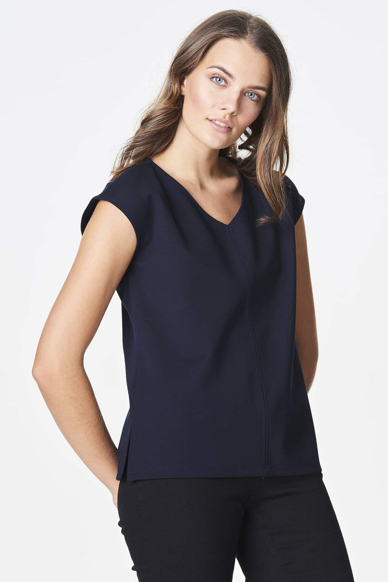 Voglia dark blue cap sleeve top