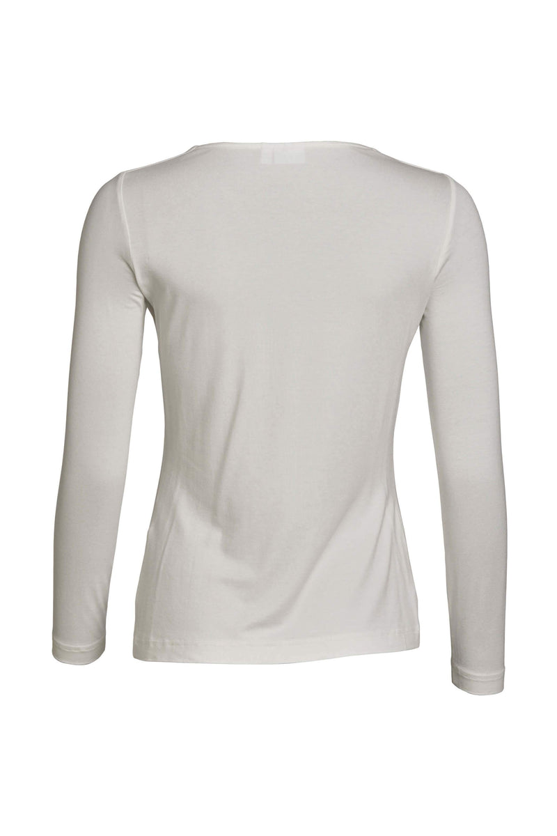 Relaxed Fit Long Sleeve Basic Tee White