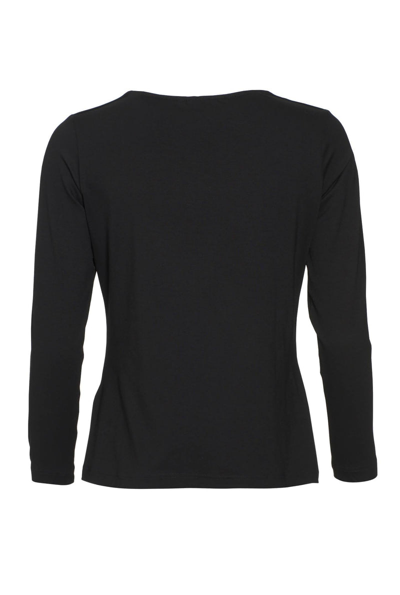 Relaxed Fit Long Sleeve Basic Tee Black