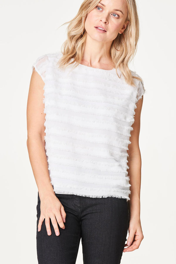 Voglia white fringe top with cap sleeves