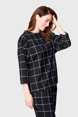 Checkered Black Blouse