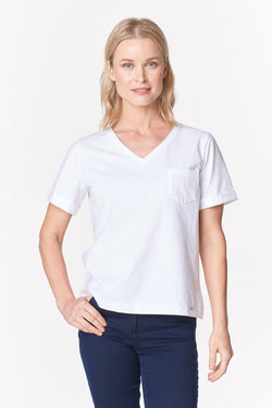 Voglia white organic cotton t-shirt with pocket