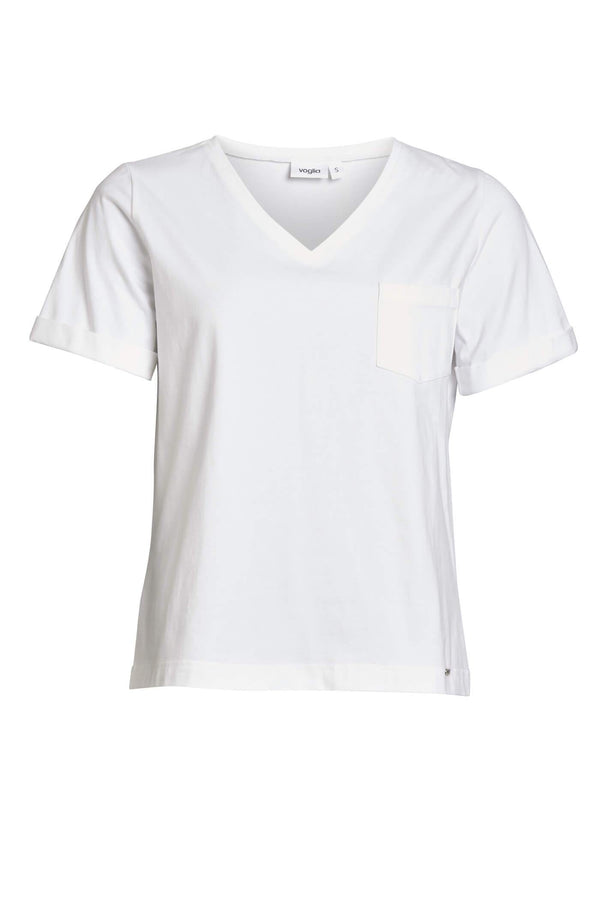 White V-Neck Eco T-Shirt with Pocket