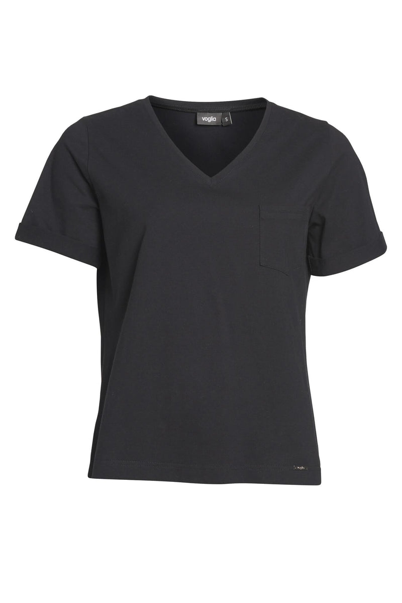 Black V-Neck Eco T-Shirt with Pocket