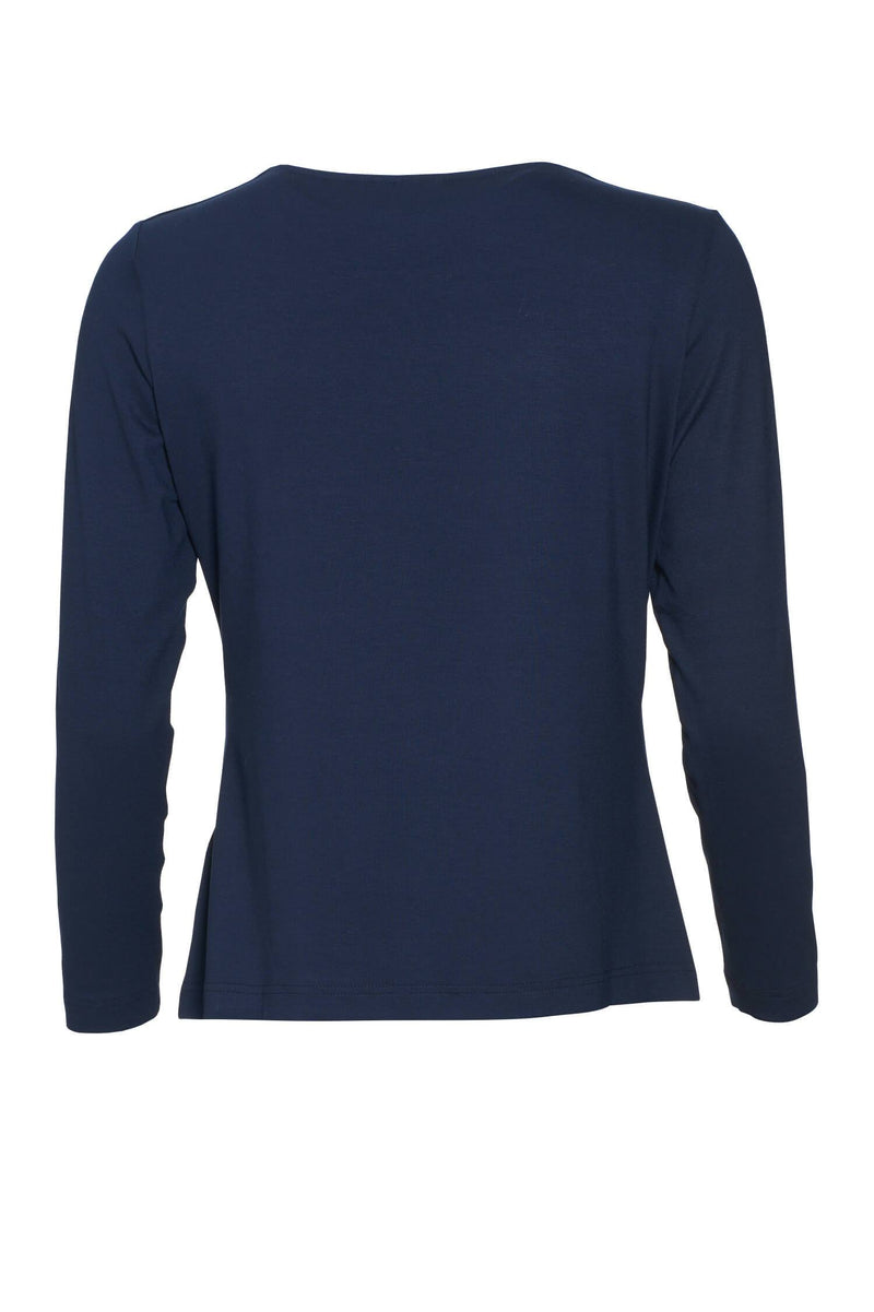Relaxed Fit Long Sleeve Basic Tee Navy Blue