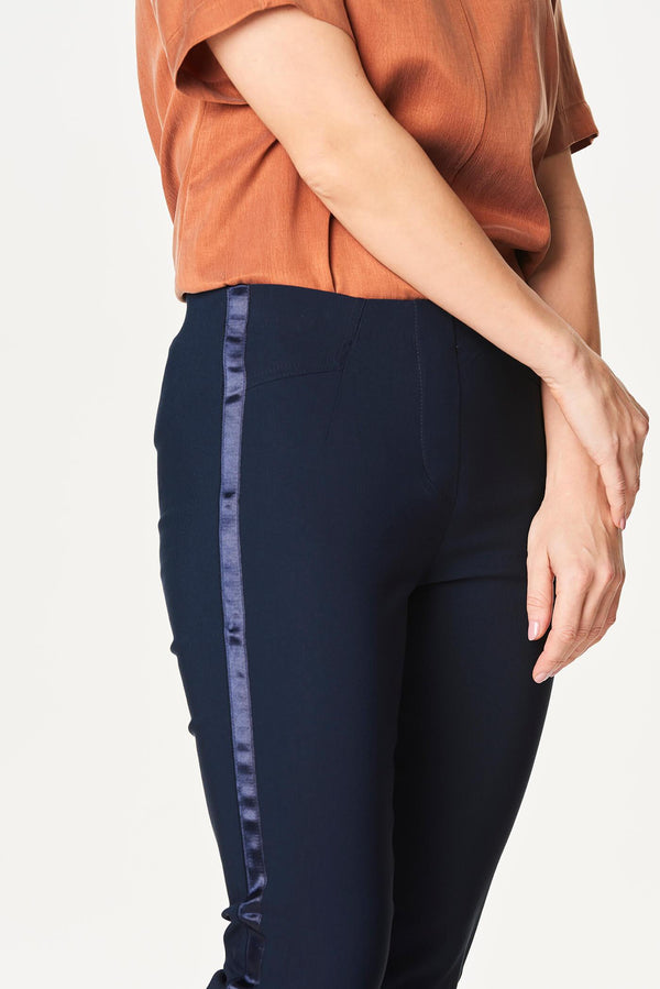 Stretch Side Stripe Pants Navy Blue