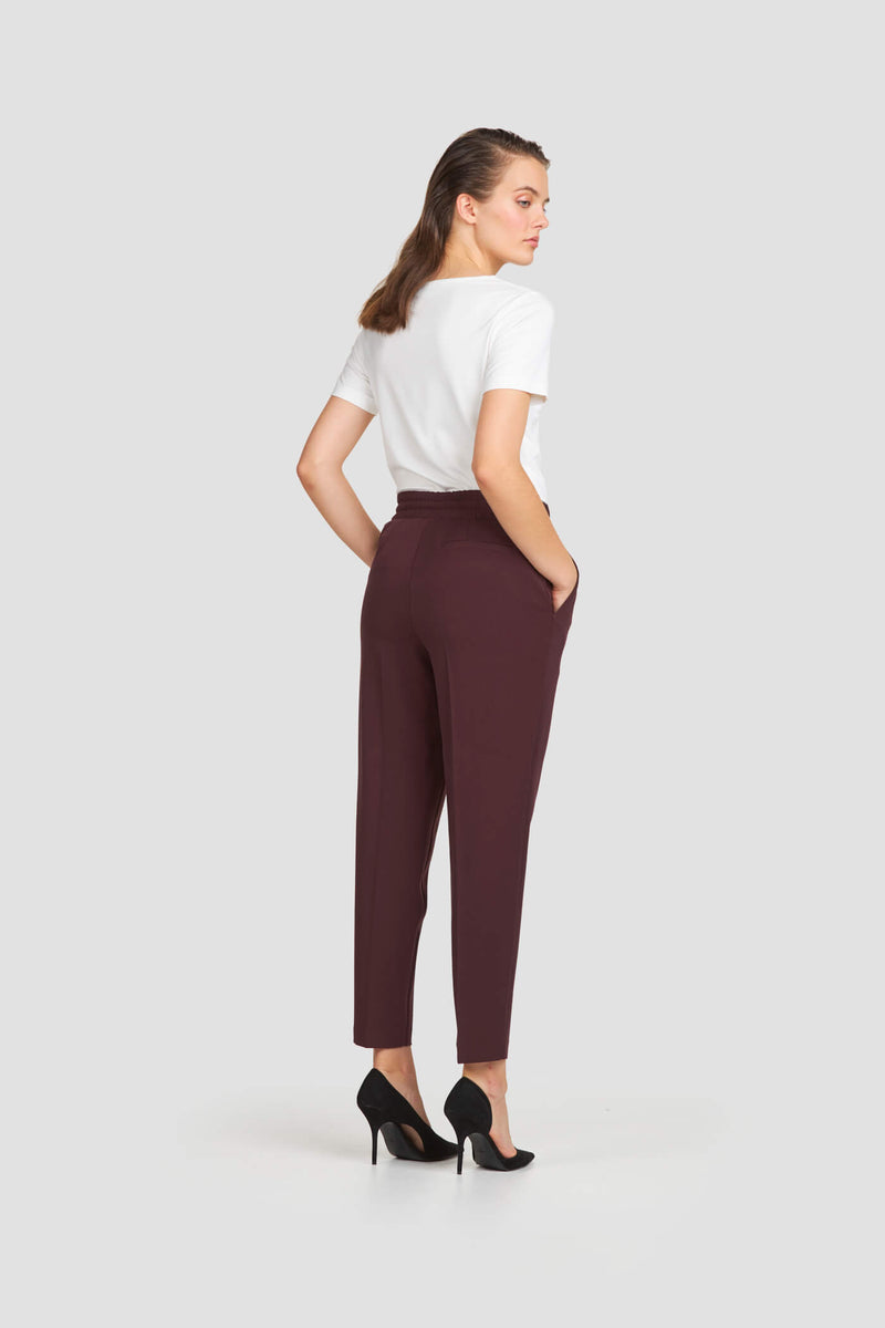 Relaxed Fit Pants with Drawstring Waist Plum