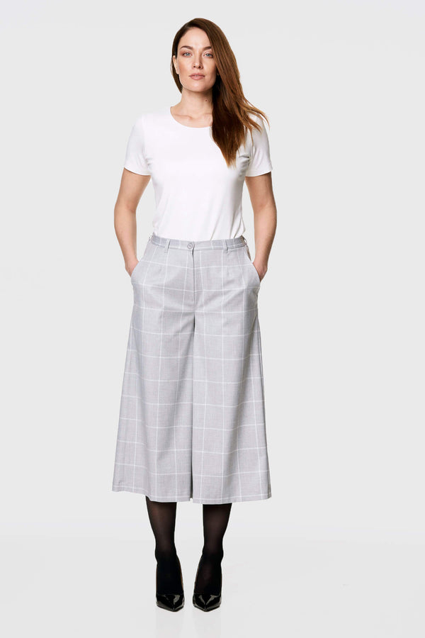 Checkered Gray Culottes