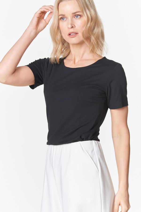 Voglia black t-shirt and white wide culottes