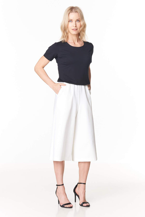Voglia black t-shirt and white culottes