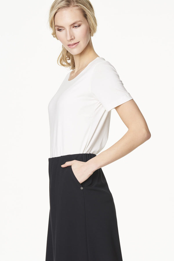 Voglia white t-shirt and black travel culottes
