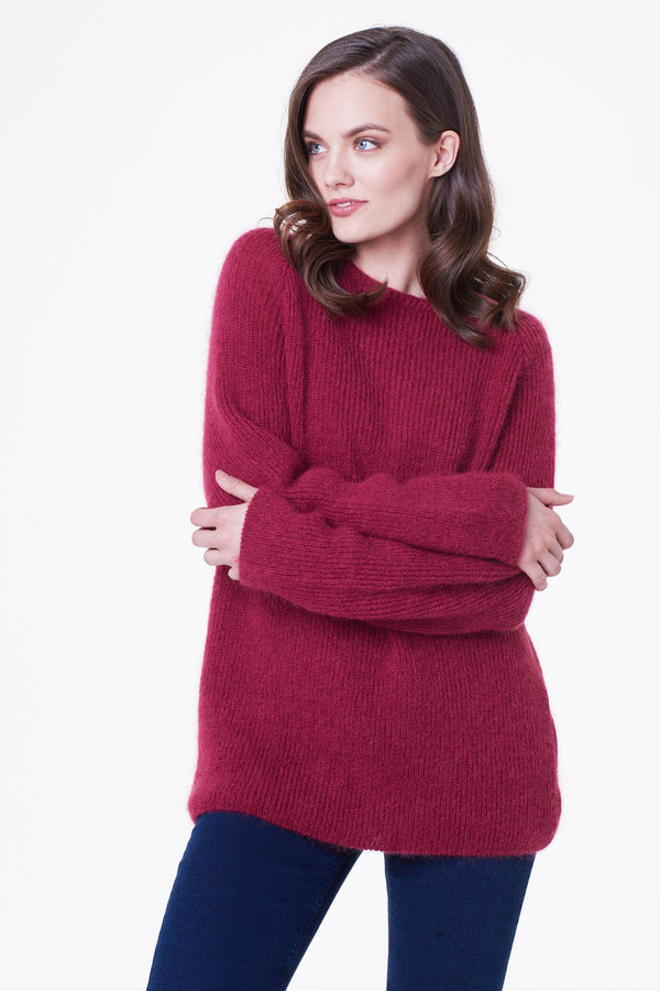 Crew Neck Mohair Sweater in Maroon
