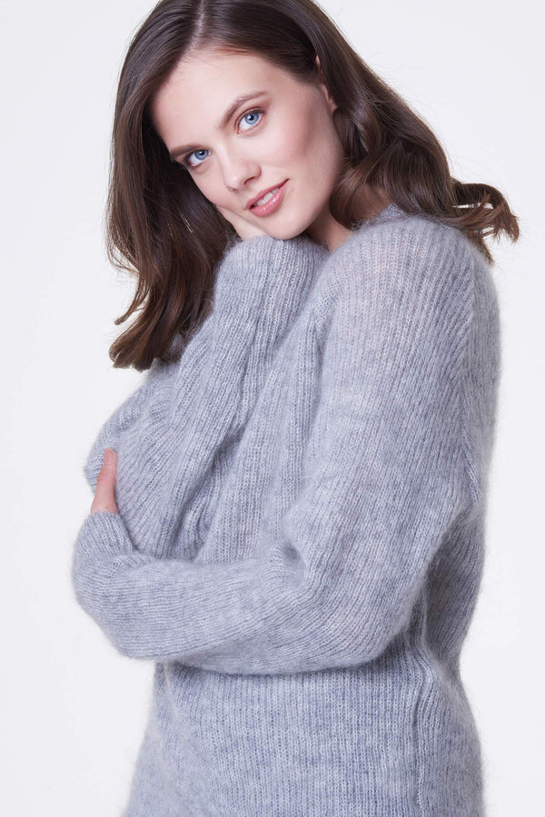 Voglia light gray mohair sweater