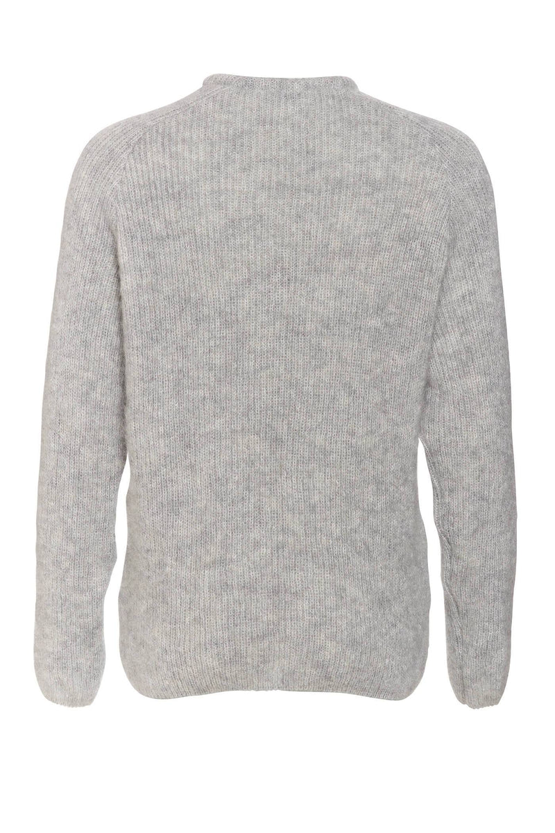 Crew Neck Mohair Sweater in Gray