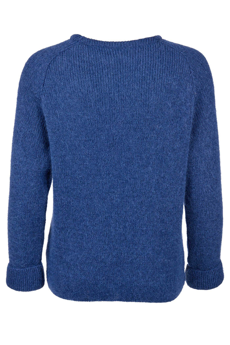 Crew Neck Mohair Sweater in Blue