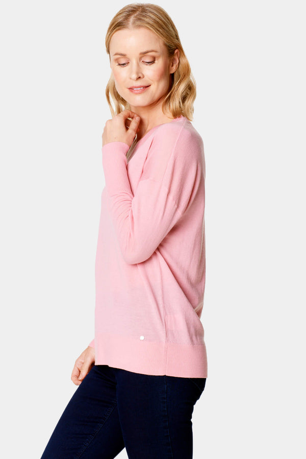 V-Neck Merino Wool Sweater Sweet Pink