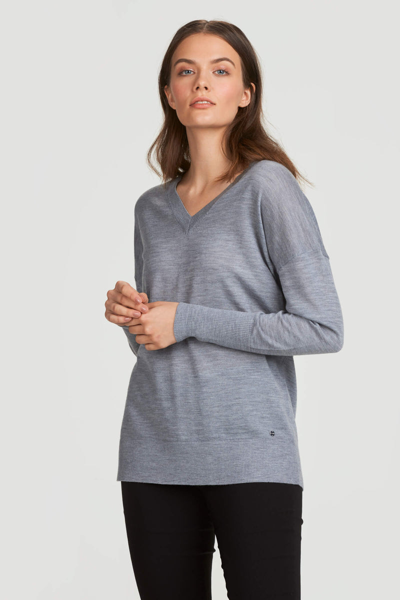 V-Neck Merino Wool Sweater Gray