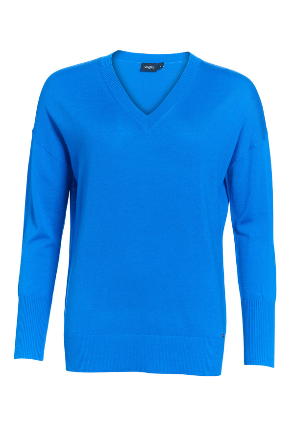 V-Neck Merino Wool Sweater Ibiza Blue