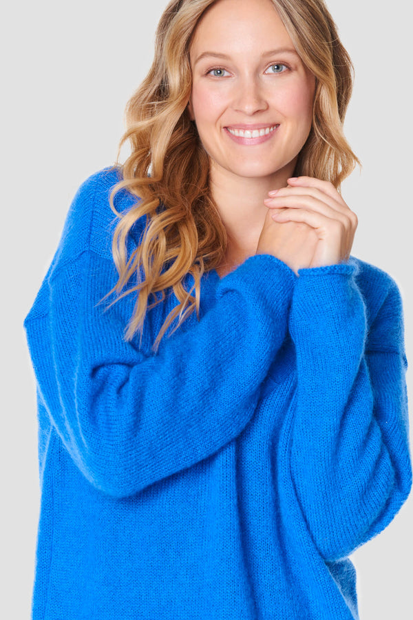 Sky Blue V-Neck Mohair Sweater