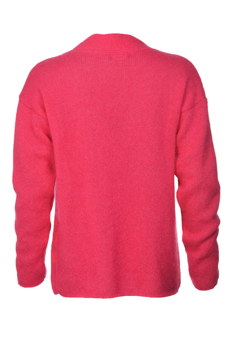 Hot Pink V-Neck Mohair Sweater