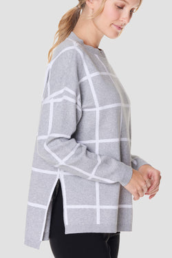 Gray Windowpane Checks Sweater
