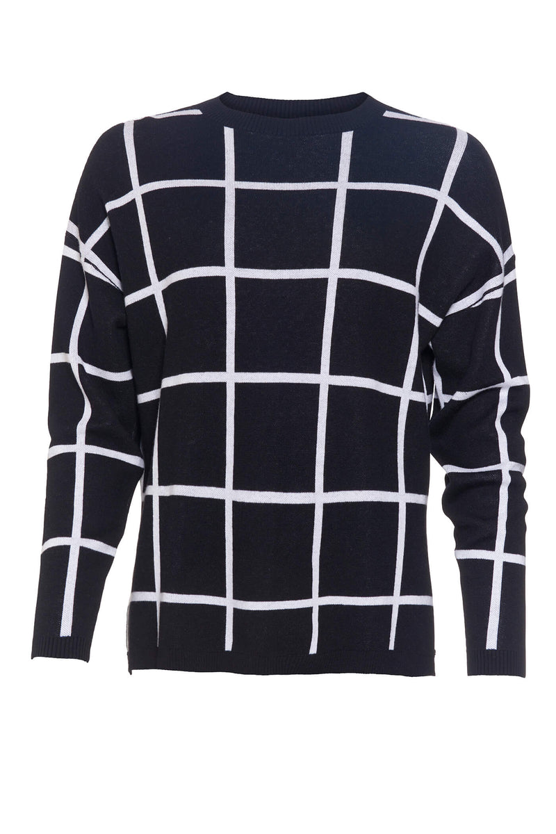 Black Windowpane Check Sweater