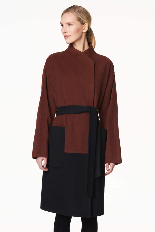 Colorblock Wool Blend Coat Copper/Black