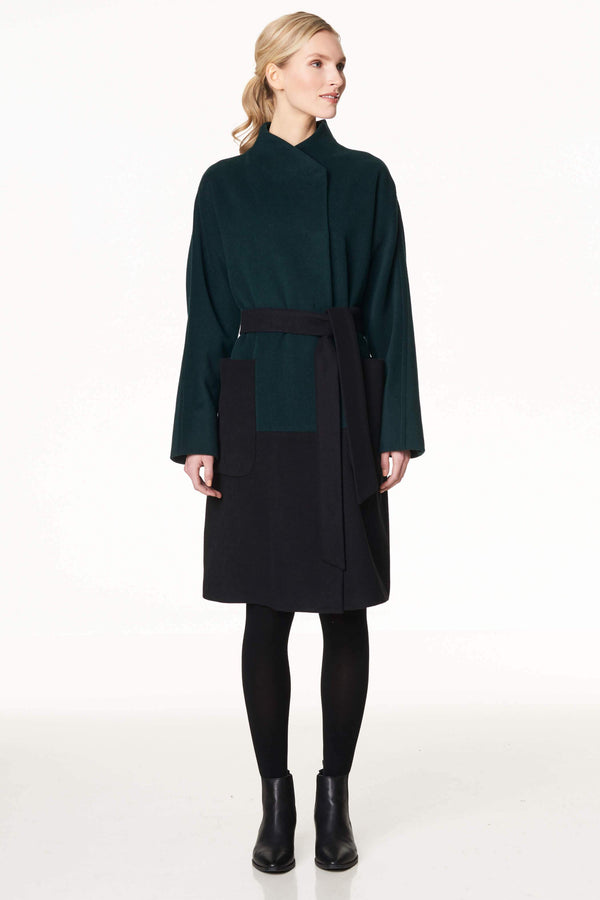 Colorblock Wool Blend Coat Green/Black