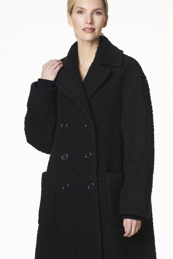 Voglia trendy oversized teddy coat black