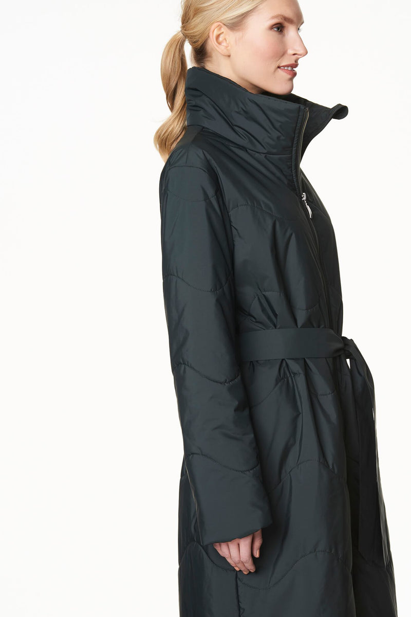 Voglia puffer coat high collar in green