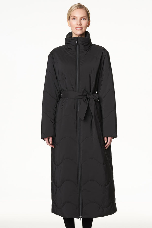 Extra Long Puffer Coat in Black
