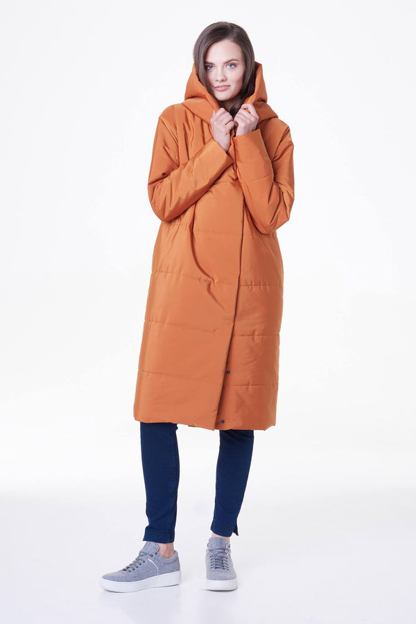 Long Hooded Puffer Coat in Orange