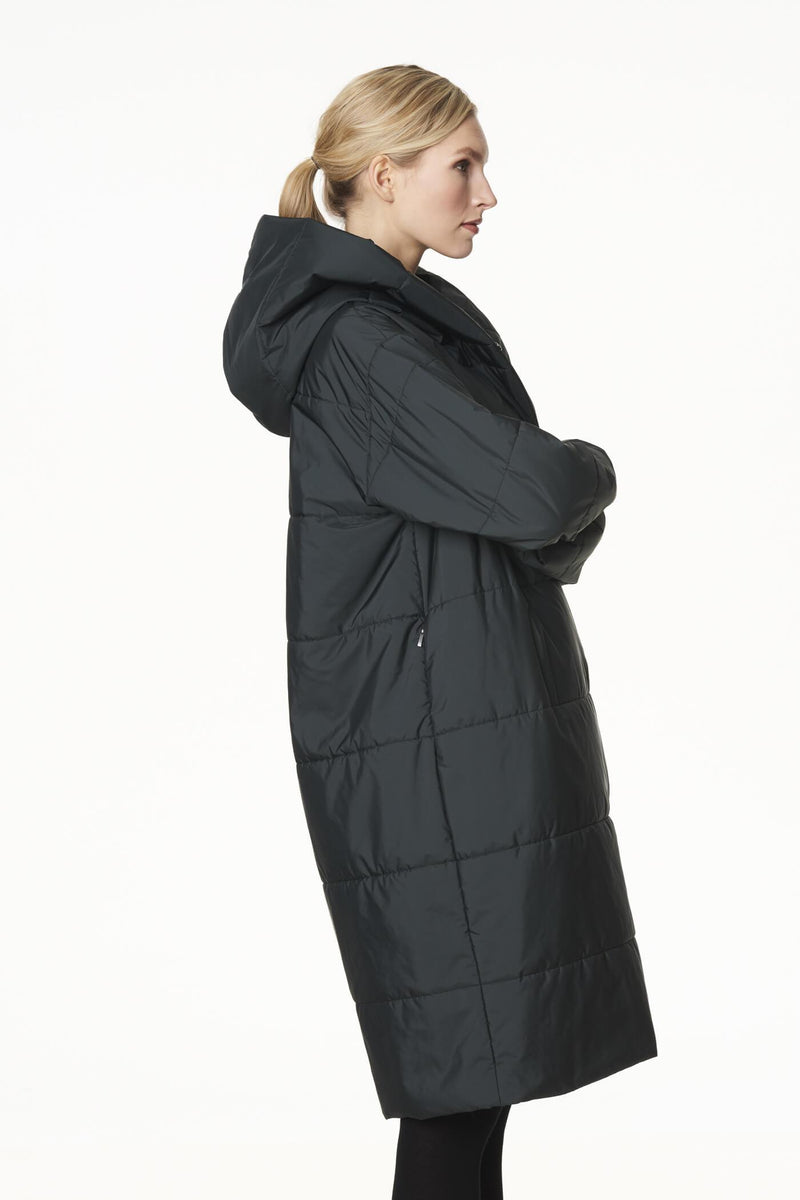 Long Hooded Puffer Coat in Dark Green
