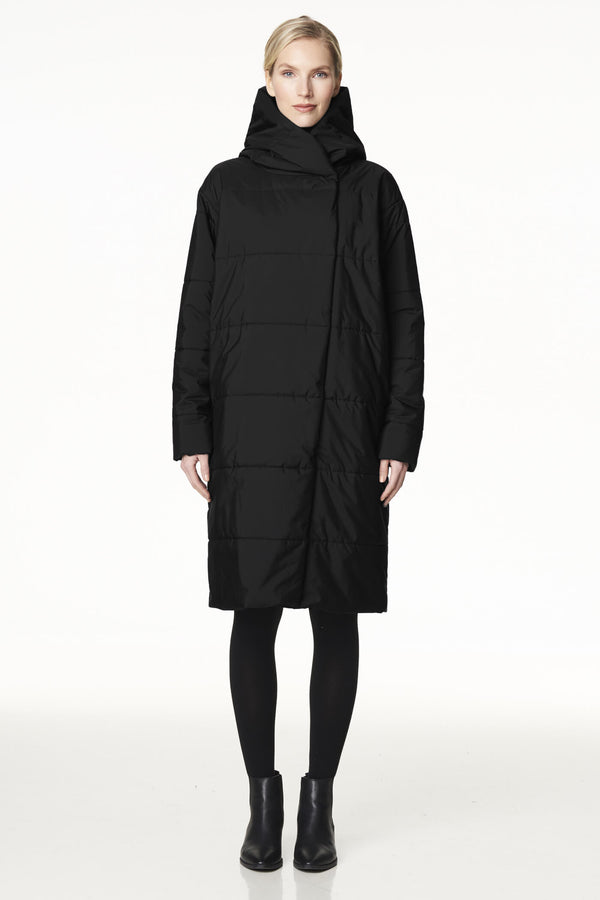 Long Hooded Puffer Coat in Black