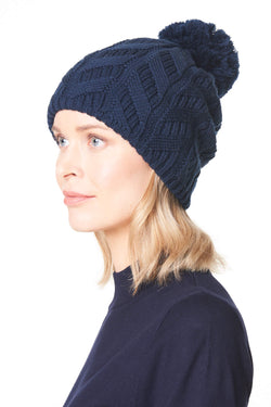 Cable Knit Merino Wool Pom Beanie