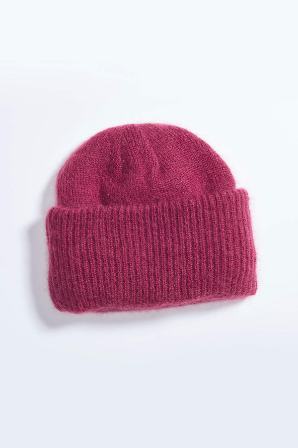 Fluffy Knitted Mohair Beanie in Maroon
