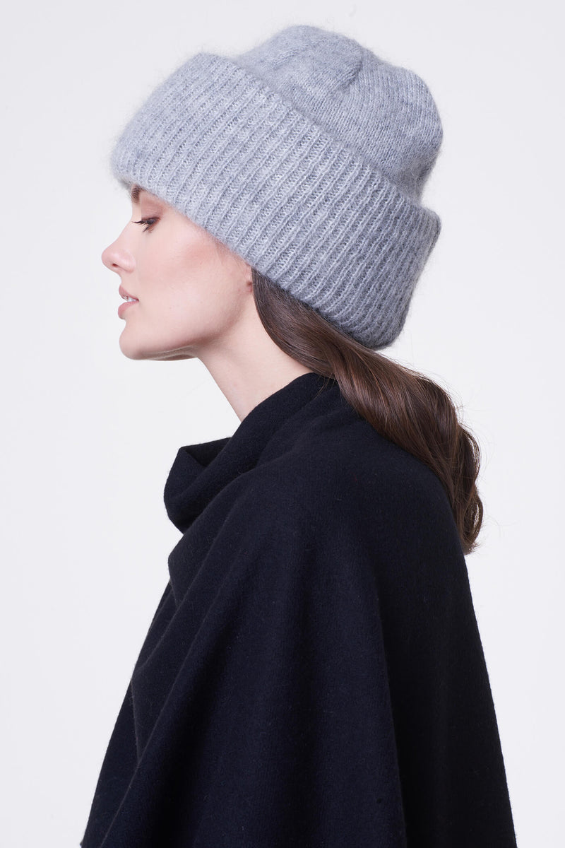 Voglia light gray mohair beanie hat