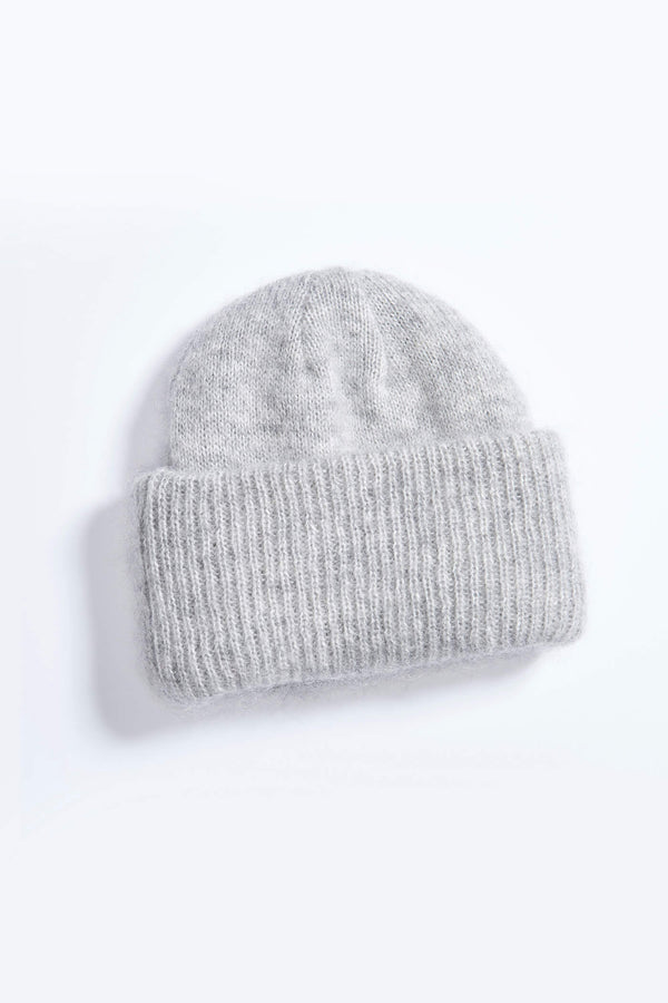 Fluffy Knitted Mohair Beanie Hat Gray