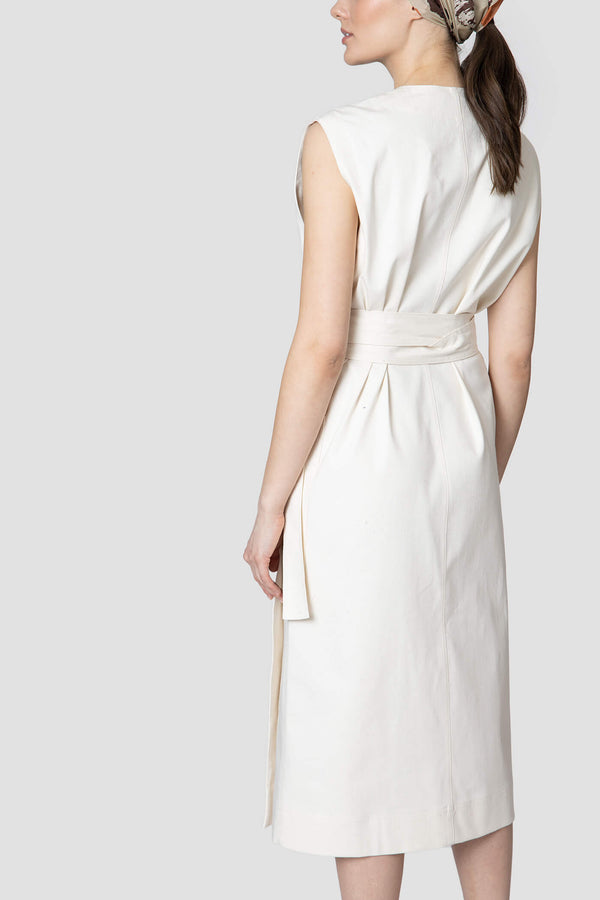 Voglia Finland off-white denim wrap dress