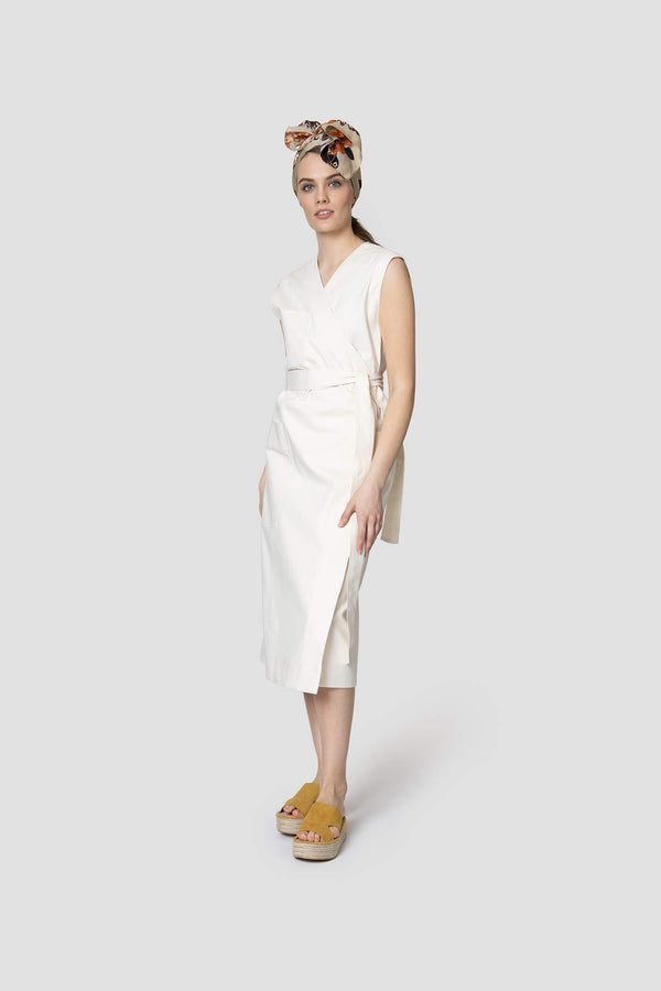 Voglia Finland off-white denim wrap dress midi lenght