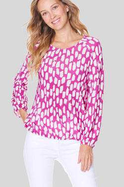 Voglia women's fuchsia long sleeve blouse